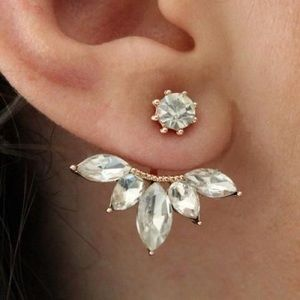 Crystal Earrings Cuffs 21k White and Gold Plated
